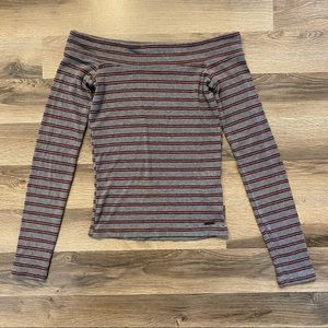 Hollister Grey/Red Striped Off The Shoulder Long Sleeve